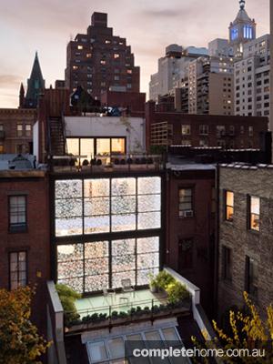 NY townhouse exterior aerial