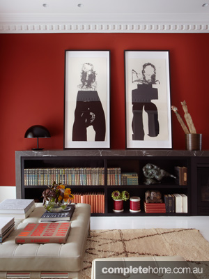 Tusculum Residence Red-Room-Bookshelf