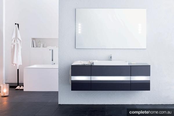 bathroom wellness black and white