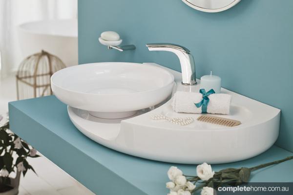 bathroom wellness blue sink