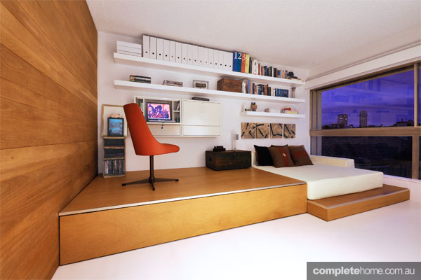 Sleek compact living home office design by Emanuele Rattazzi