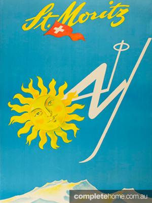 midcentury modern vintage ski poster