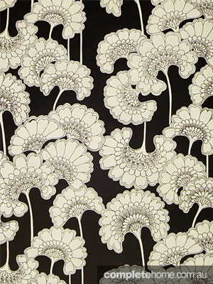 Japanese floral wallpaper by Florence Broadhurst
