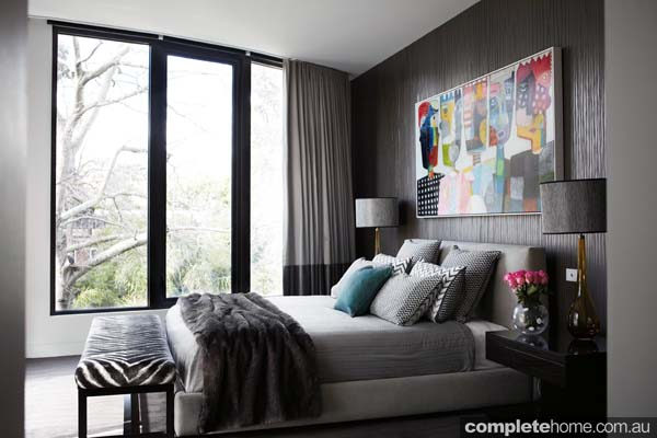Toorak house - Modern grey and blue bedroom