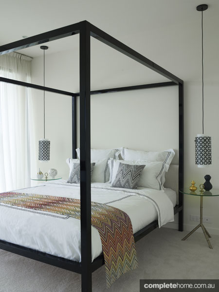 50s hollywood bedroom with Missoni sheets, by Greg Natale