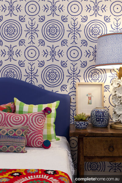 Bright, colourful, patterned bedroom