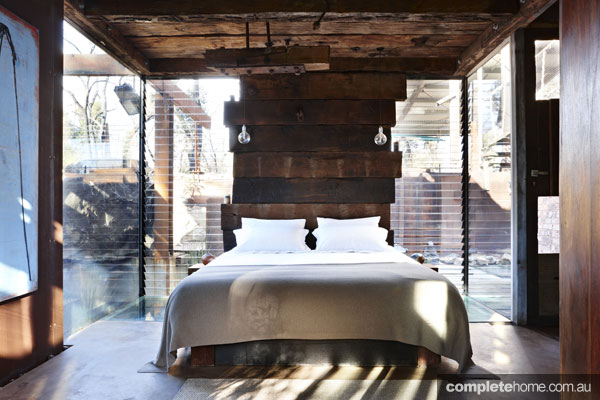 Grand Designs' Bushfire house Rustic bedroom