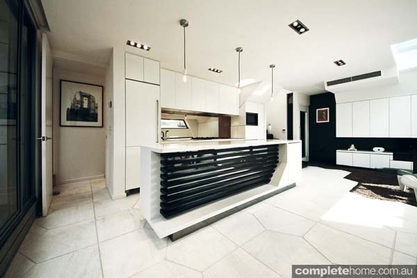 Compact, concrete kitchen