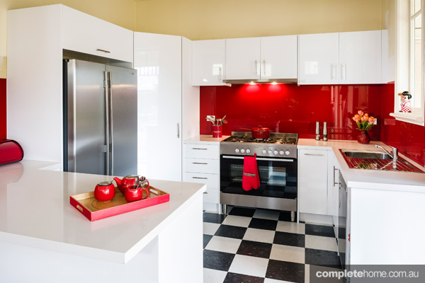 A Retro Kitchen With Bright Red Splashback Completehome